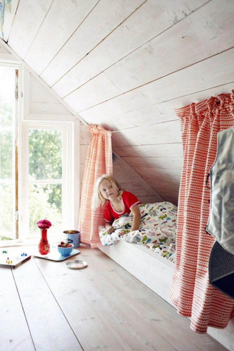 83 Sweet Bedroom Curtain Design Ideas For Your Kids Bedroomdecor Bedroomideas Bedroomdesign Kitchen With Images Small Attic Room Attic Rooms Slanted Walls