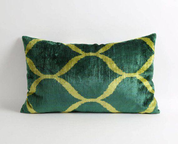 ikat pillow cushion silk velvet