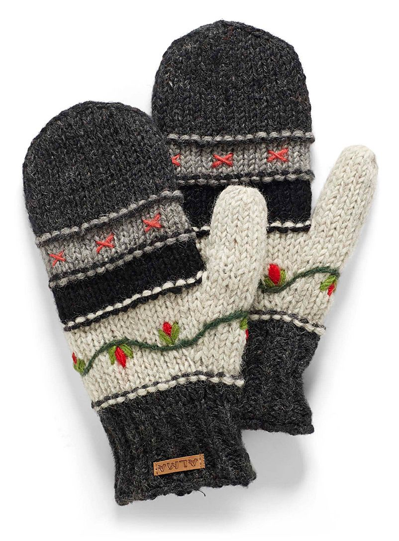 Floral Embroidery Mittens Alma Shop Women S Mittens Online In Canada Simons In 2020 Mittens Crochet Fingerless Gloves Embroidery