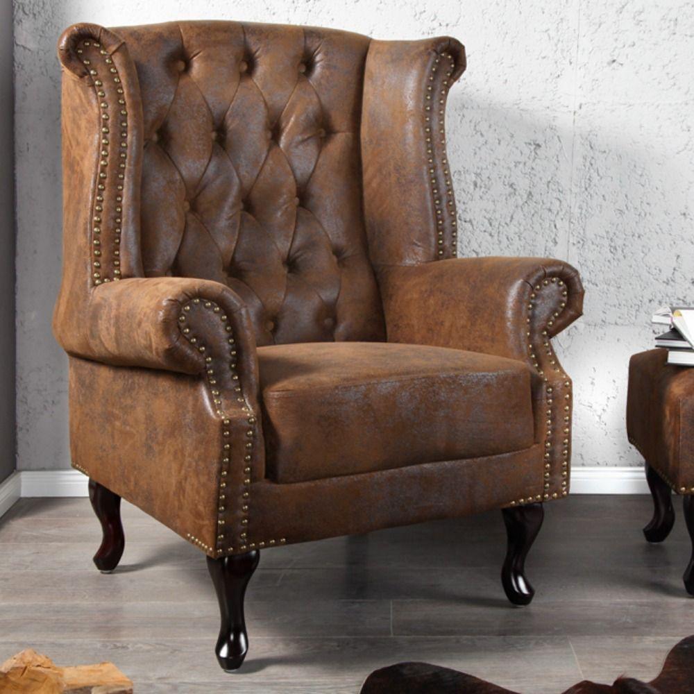 Chesterfield Sessel 85cm Antik Braun Mit Knopfheftung Und Federkern Chesterfield Sessel Ohrensessel Sessel