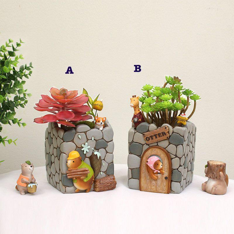 Cartoon Resin Flower Pot Succulent Plants Pot Otter House Planter