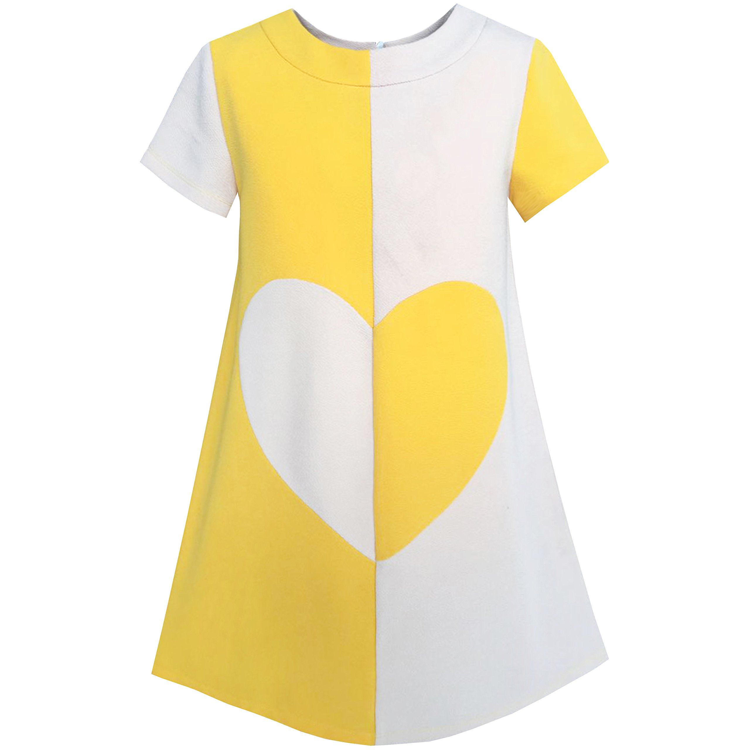 Yellow dress knee length  KH Girls Dress Color Contrast Heart Aline Size  Polyester