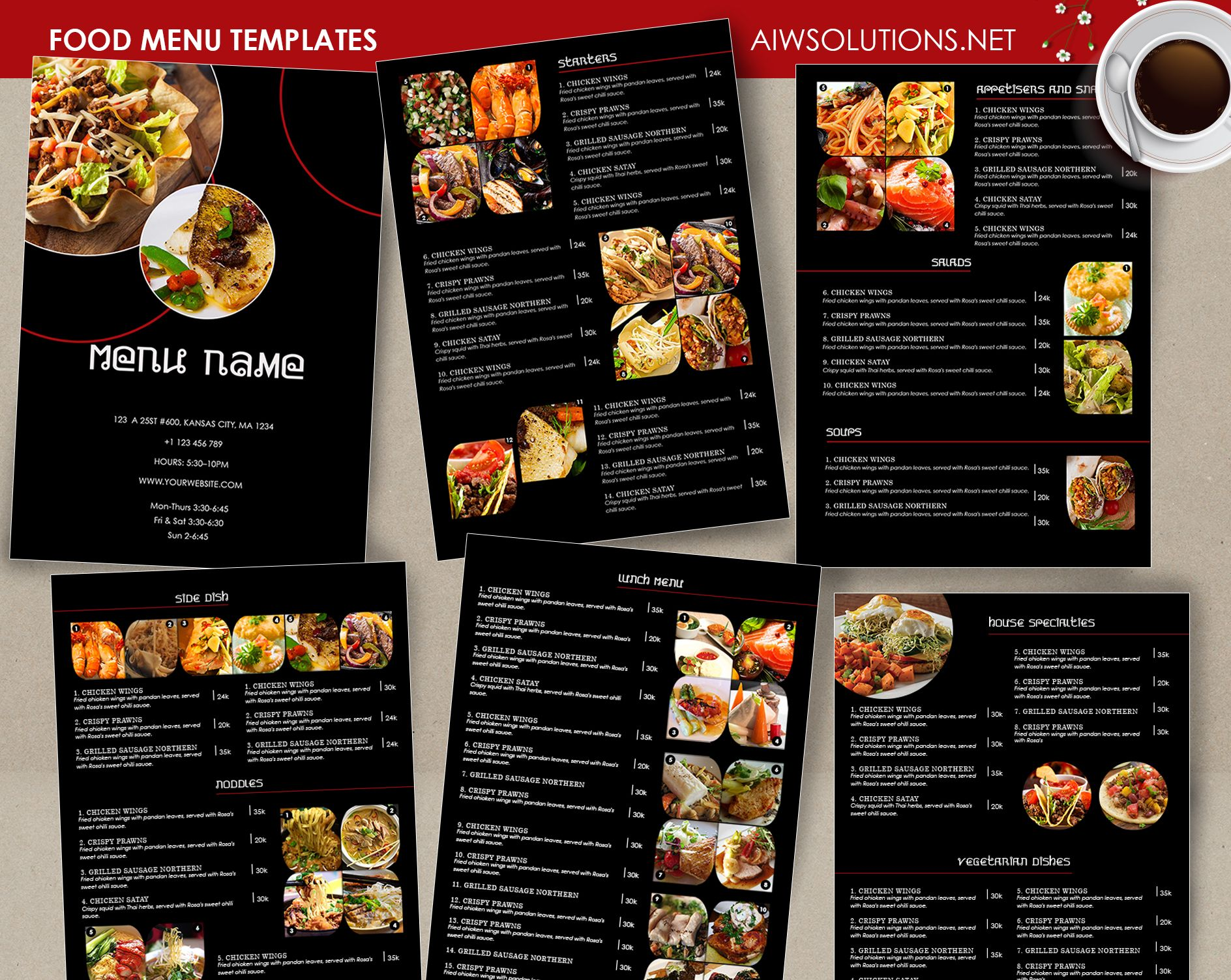 Food Menu id26 – Sample Cafe Menu Template