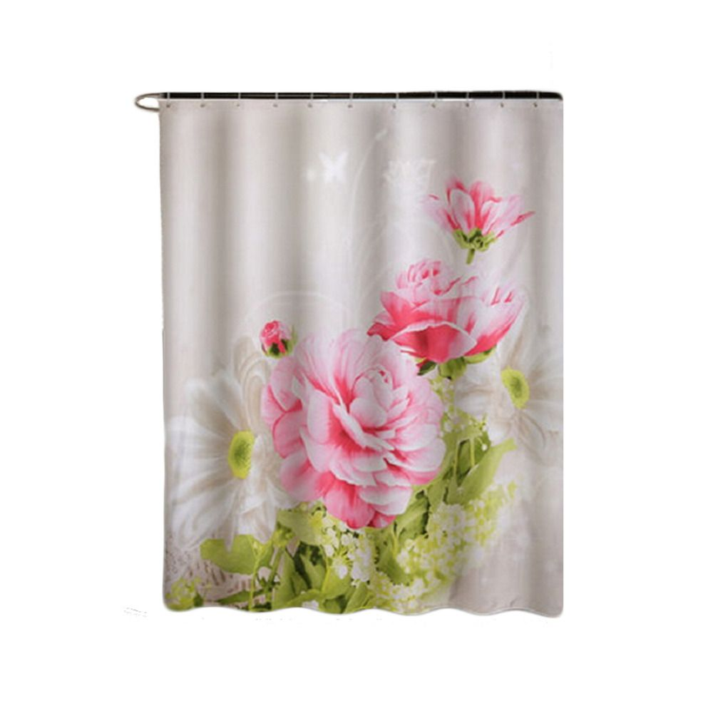 Cm fabric polyester red peony waterproof shower curtain