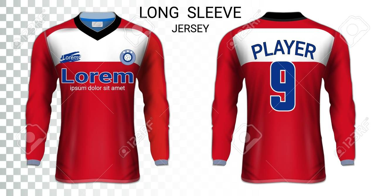 Download Long Sleeve Soccer Jerseys T Shirt Sport Mockup Template Realistic Graphic Design For Football Uniform Goa Long Sleeve How To Look Pretty Long Sleeve Jersey