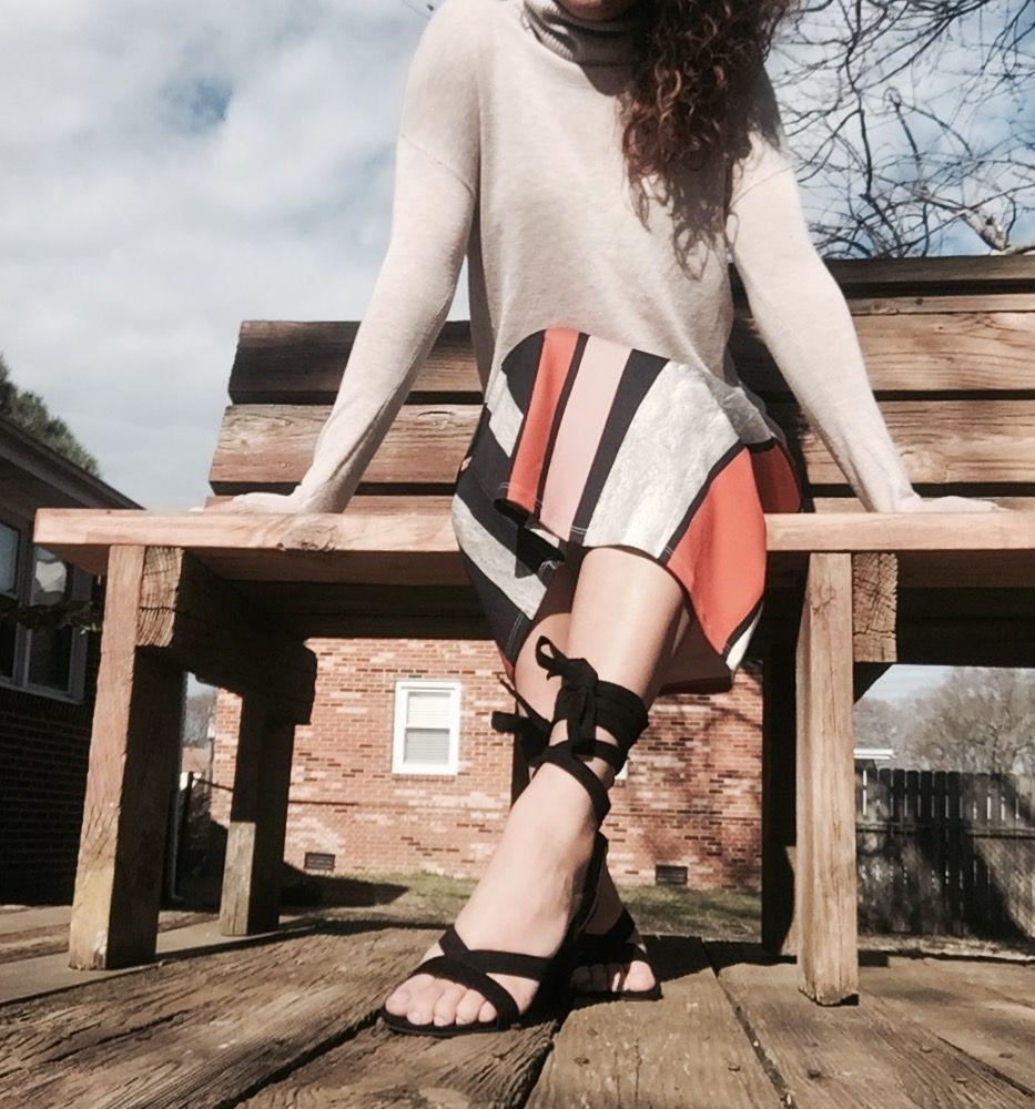 #fashion #pencilskirt #asos #blackheels #ootd #tieupheels #stripes