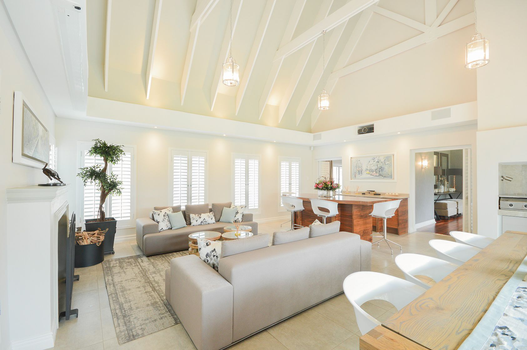 Contemporary & elegant entertainment/family room. Double volume ...