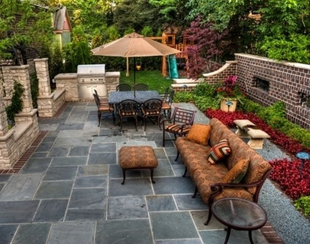 savemod outdoor patio backyard design ideas for small spaces on a budget with umbrella - Stone Patio Ideas On A Budget