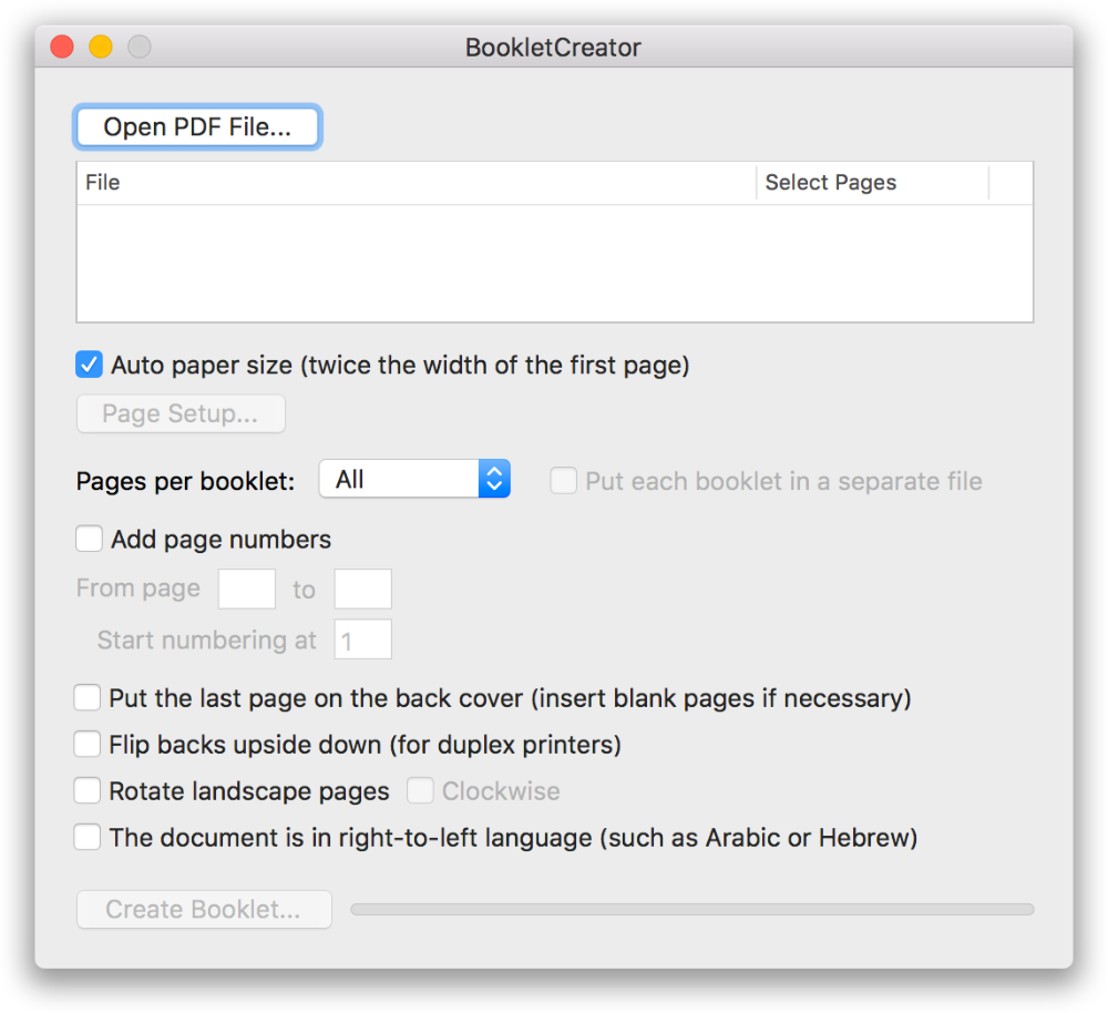 BookletCreator create a booklet from a PDF document