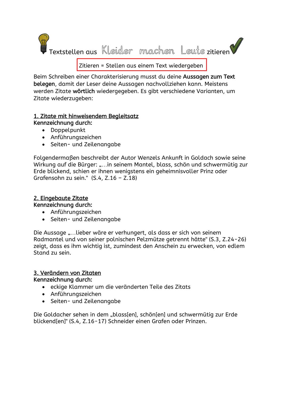 Textstellen Zitieren Kleider Machen Leute Merkblatt Unterrichtsmaterial Im Fach Deutsch Zitieren Merken Deutsch Lernen