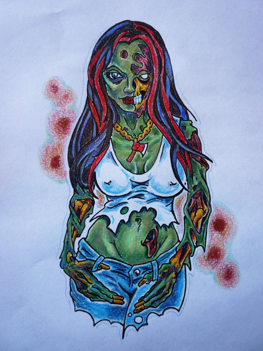 Zombie Girl Drawing   zombie girl tattoo by hoviemon ...