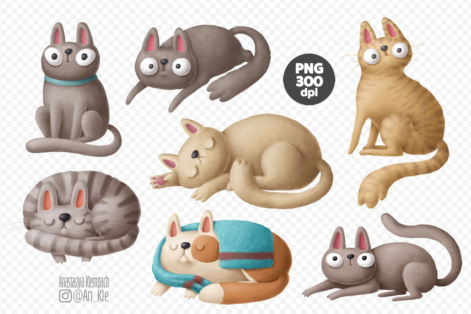 Cute Cat Digital Graphics Downloadable Illustrations Png Etsy In 2021 Cat Clipart Funny Animal Clips Animal Clipart