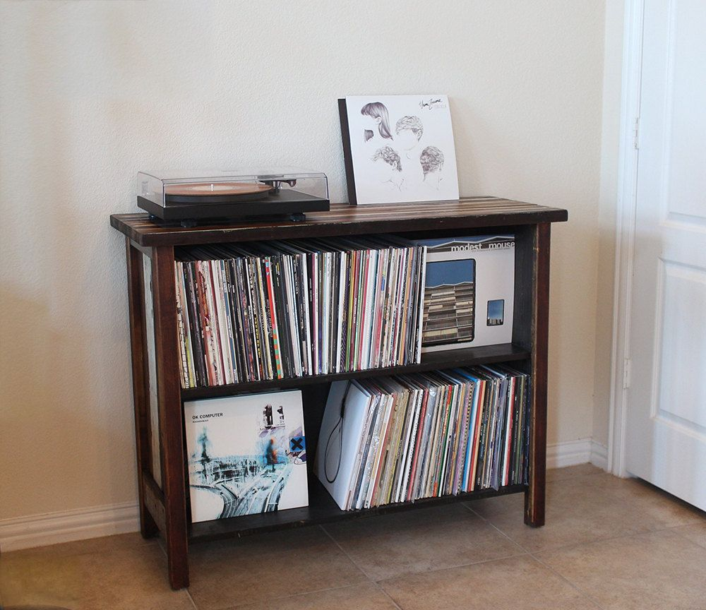 Turntable Stand & LP Storage. Made From Reclaimed Wood