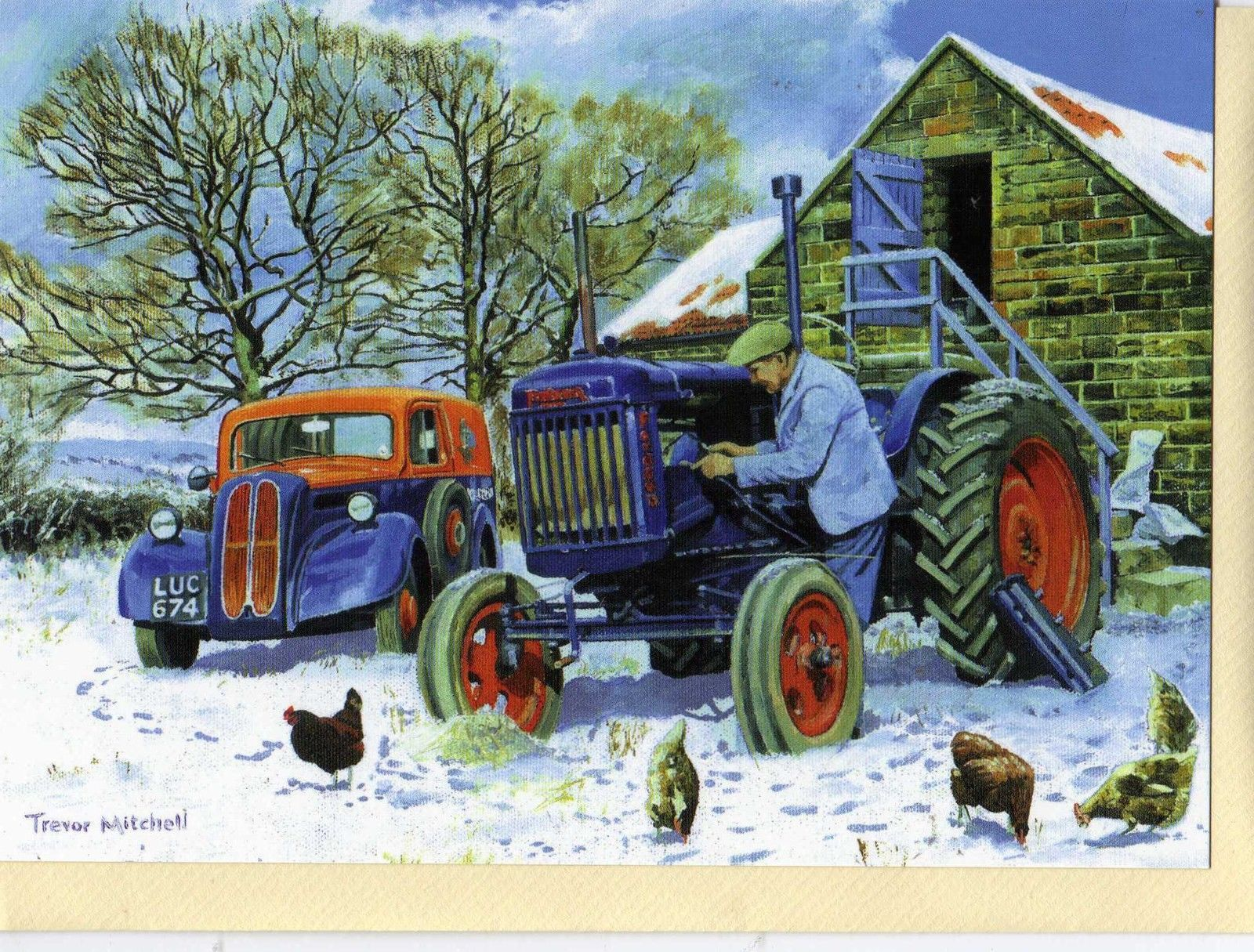 FORDSON TRACTOR & FORD VANCHRISTMAS PRINT CARDTREVOR