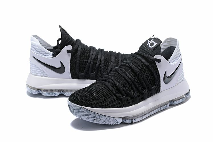 "official photos ad4a5 6dc26 2018 New Nike KD 10 ""Black White"" Men s Basketball Shoes 897815-008"