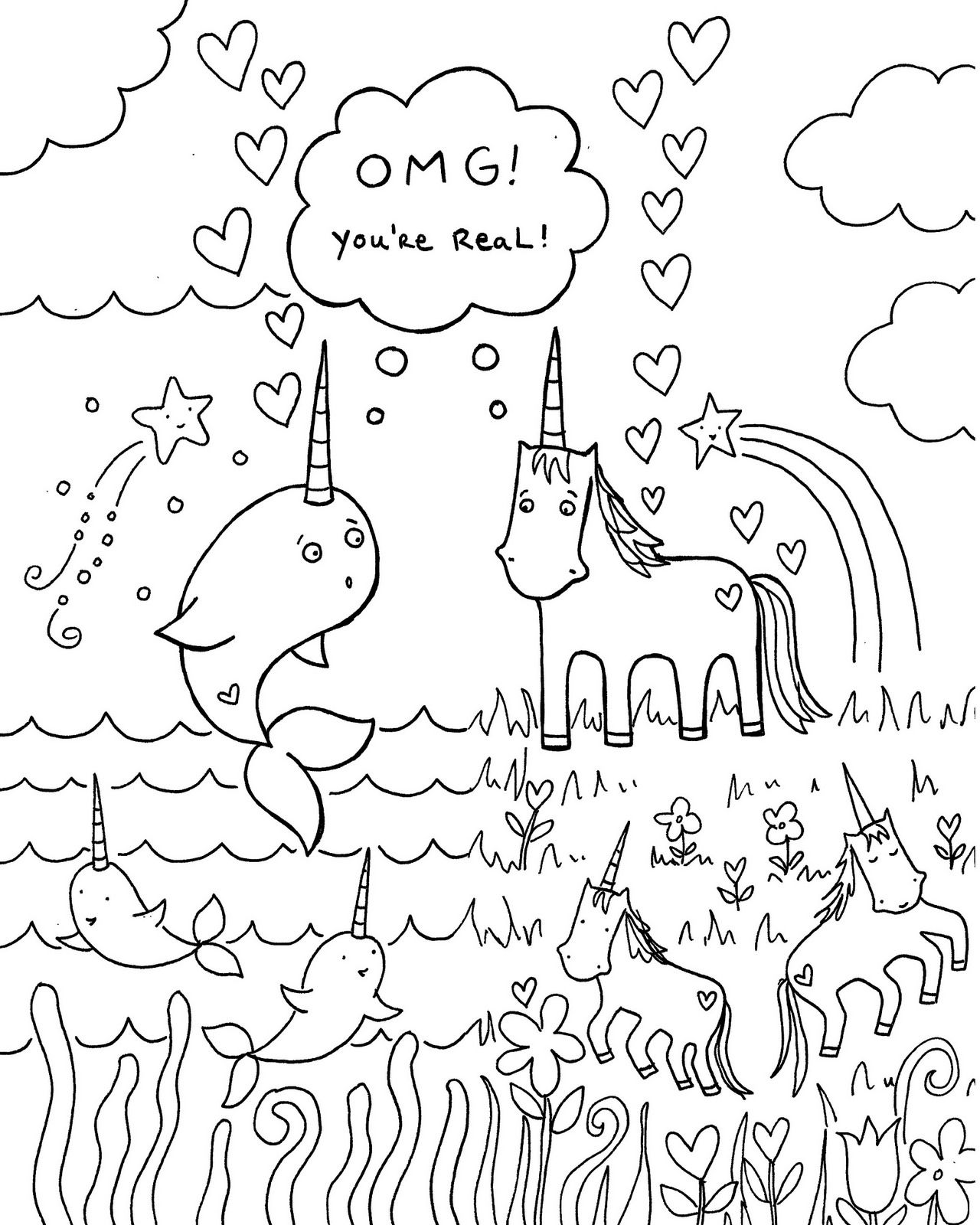 Free Download Narwhal Unicorn Coloring Book Page Unicorn