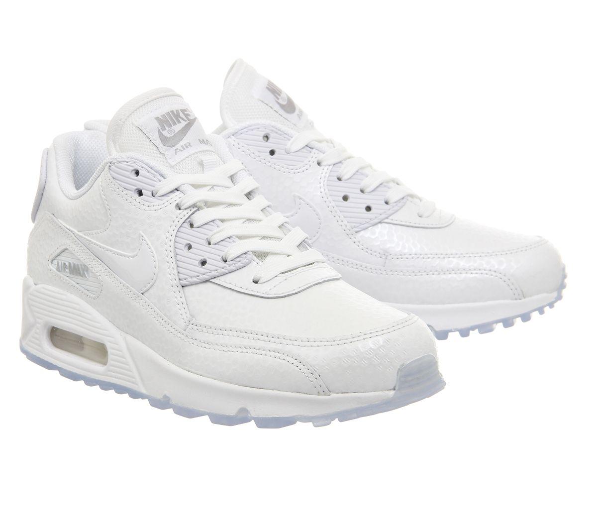 Nike Air Max 90 Formateurs Cuir Mono Vieux Blanc