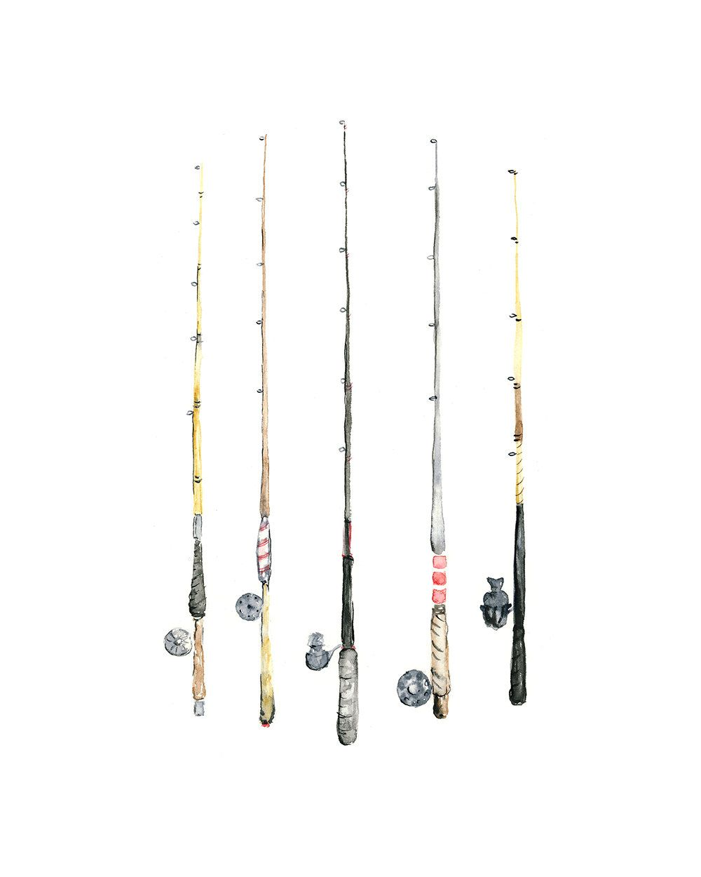 8x10 Fishing Rods Watercolor Giclee Print Canas De Pescar