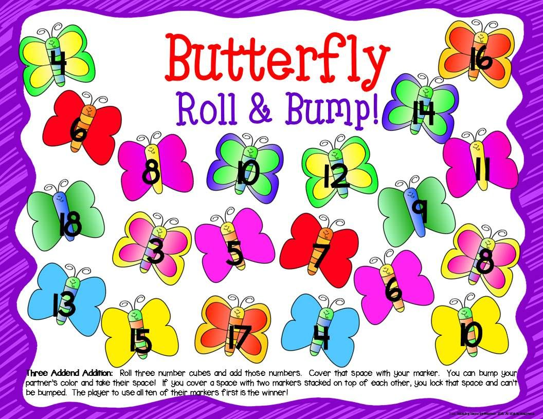 Butterfly Math Center Dice Games