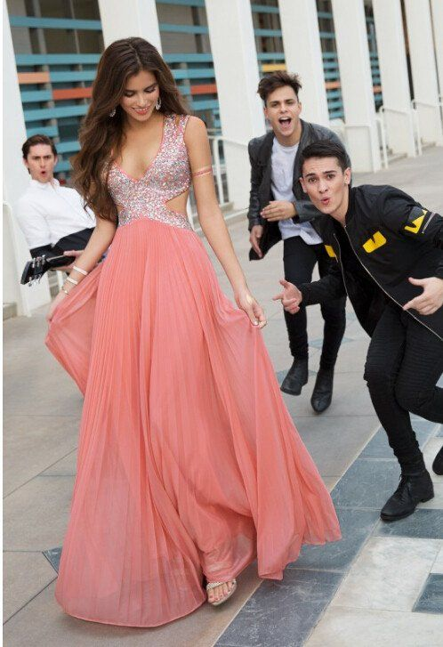 8c34f1a95387 Pd12221 Charming Prom Dress,V-Neck Prom Dress,A-Line Prom Dress,Chiffon Prom  Dress,Noble Sequined Prom Dress