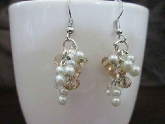 Pearl and crystal drop earrings by StayathomecrafterNY on Etsy