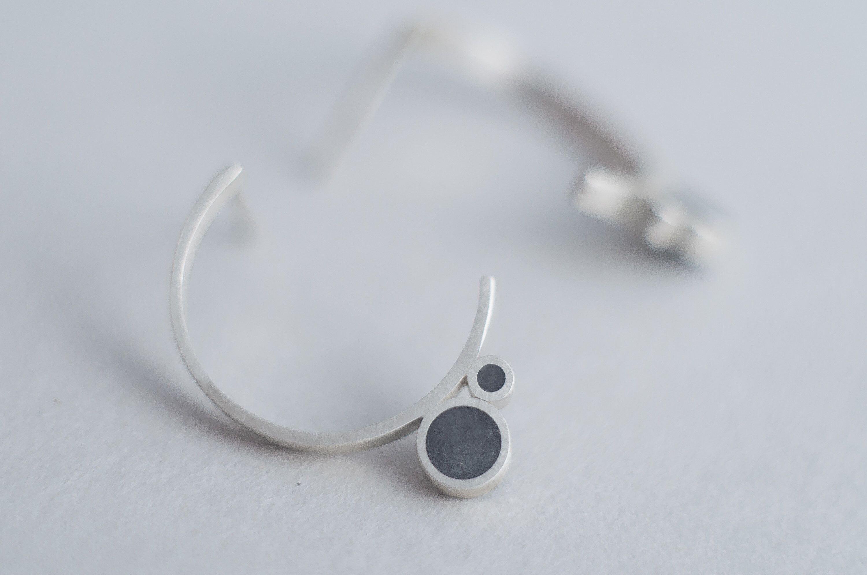 Silver Circle Earrings, Concrete Earrings, Cement Jewelry, Half Circle Earrings, Half Hoop Earrings, Half Moon Studs, Open Circle Earrings #jewelrydesign #jewelrygram #jewelrymaker #etsyshop #etsyjewelry #etsyshopowner #fallfashion #winterfashion #springfashion #summerfashion #fashionjewelry #jewelryforsale #jewelryoftheday #postoftheday #jewelrybox #bling