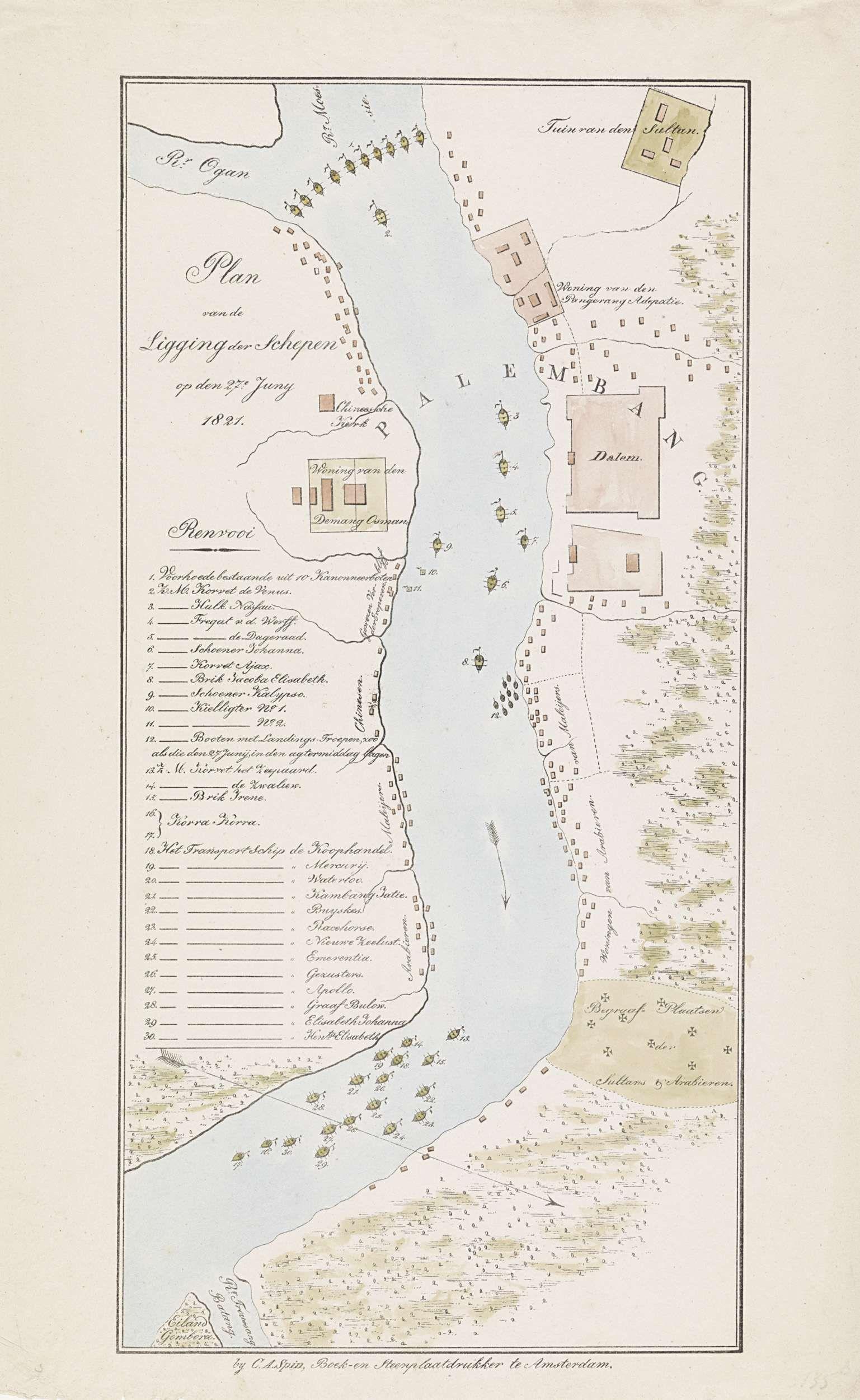 Anonymous   Kaart van de rivier bij Palembang, 1821, Anonymous, C.A. Spin, 1821   Kaart van de rivier bij Palembang met de ligging van de Nederlandse schepen op 27 juni 1821 tijdens de Tweede expeditie naar Palembang op Sumatra. Links de legenda 1-30. Zie ook de pendant.