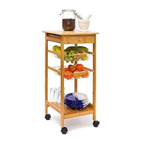 Relaxdays Küchenrollwagen JAMES Gr S Bambus H x B x T ca 80,5 x - küchenwagen mit schubladen