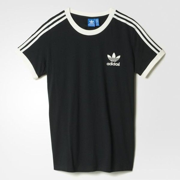 a9c8bdb62 adidas 3-Stripes Tee Black (2.715 ISK) ❤ liked on Polyvore featuring tops