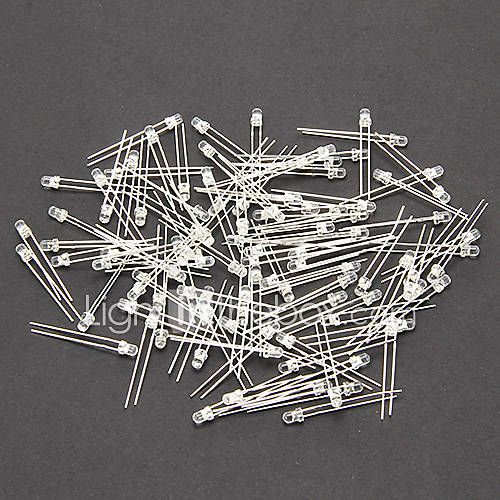 [€3.99] LED 3MM 2 Pin rond blanc Super brillant LED Light Emitting Diode Lampe (200 PCS)