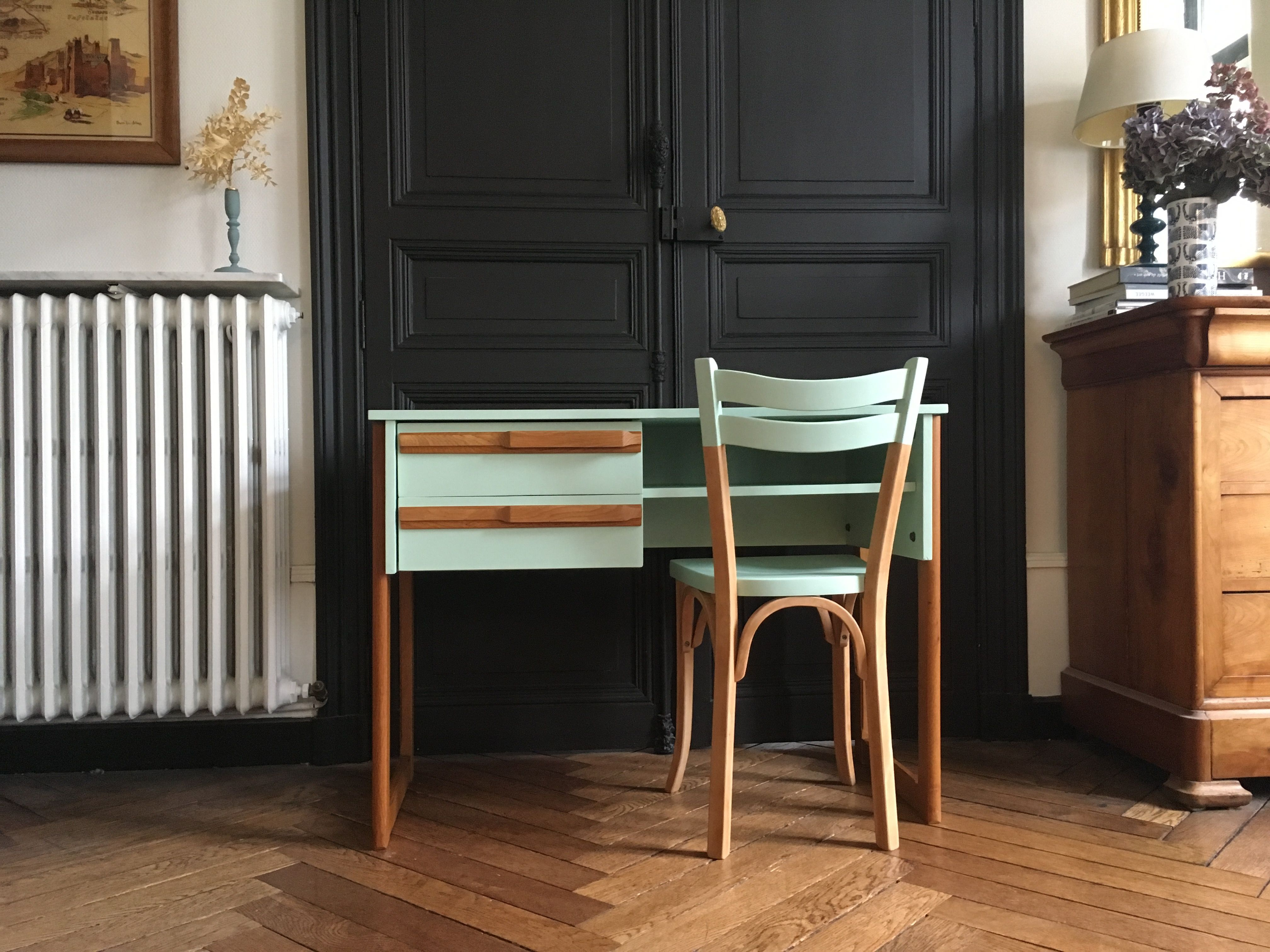 Bureau Vintage Scandinave Vert Celadon Meubles Vintage Nantes Home Decor Furniture Home