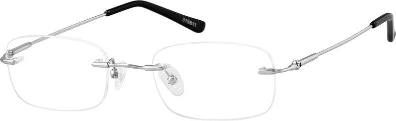 155750386c08 Zenni Womens Lightweight Rimless Prescription Eyeglasses Silver Memory  Titanium 315811