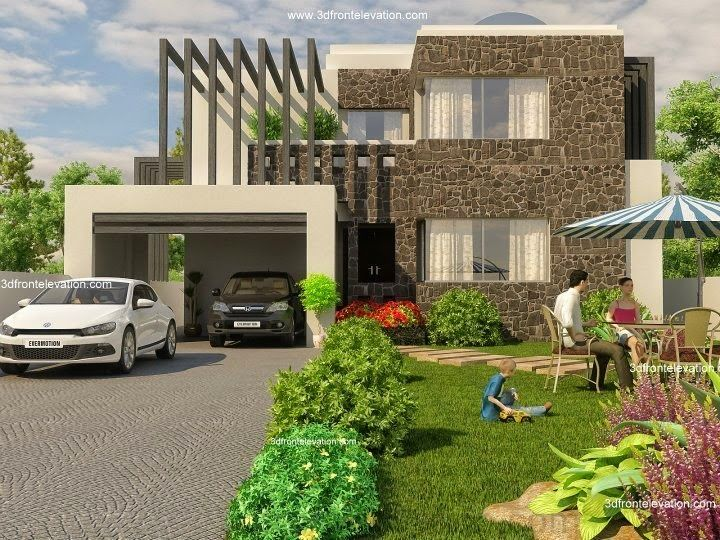 Front Elevation With Basement : D front elevation beautiful modern kanal home