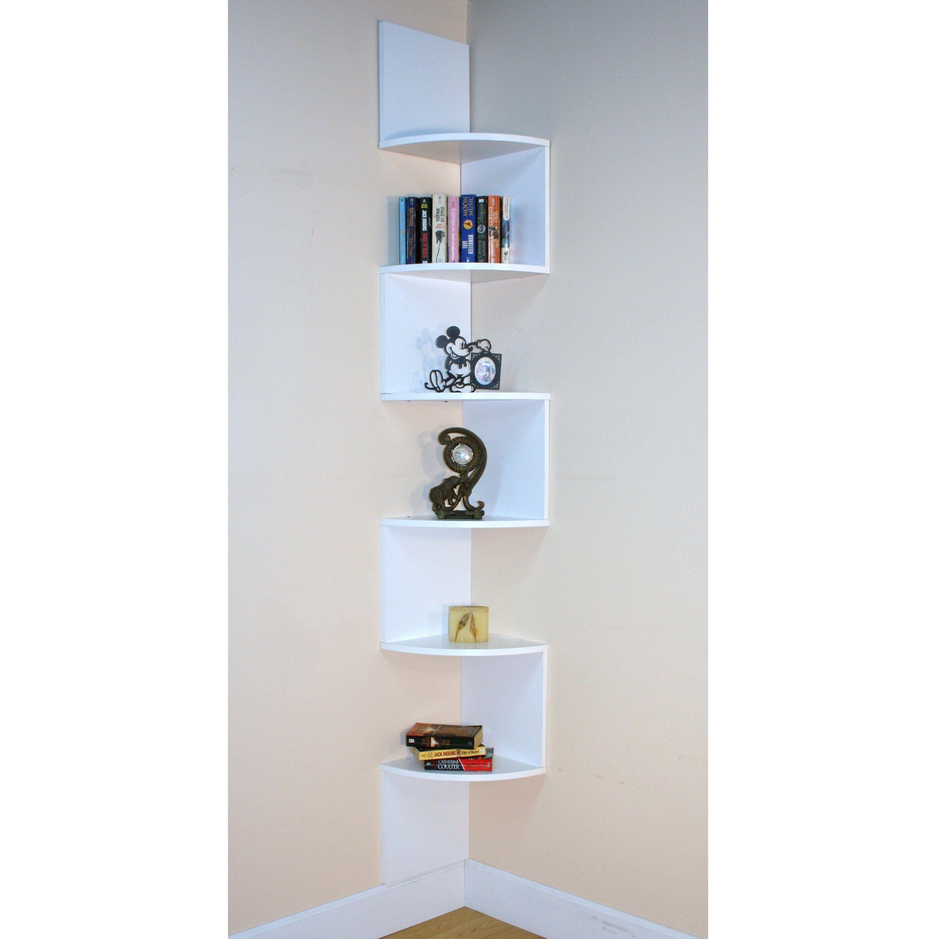 Contemporary Corner Shelf have to have it. premier 6 shelf corner bookcase -white $69.98