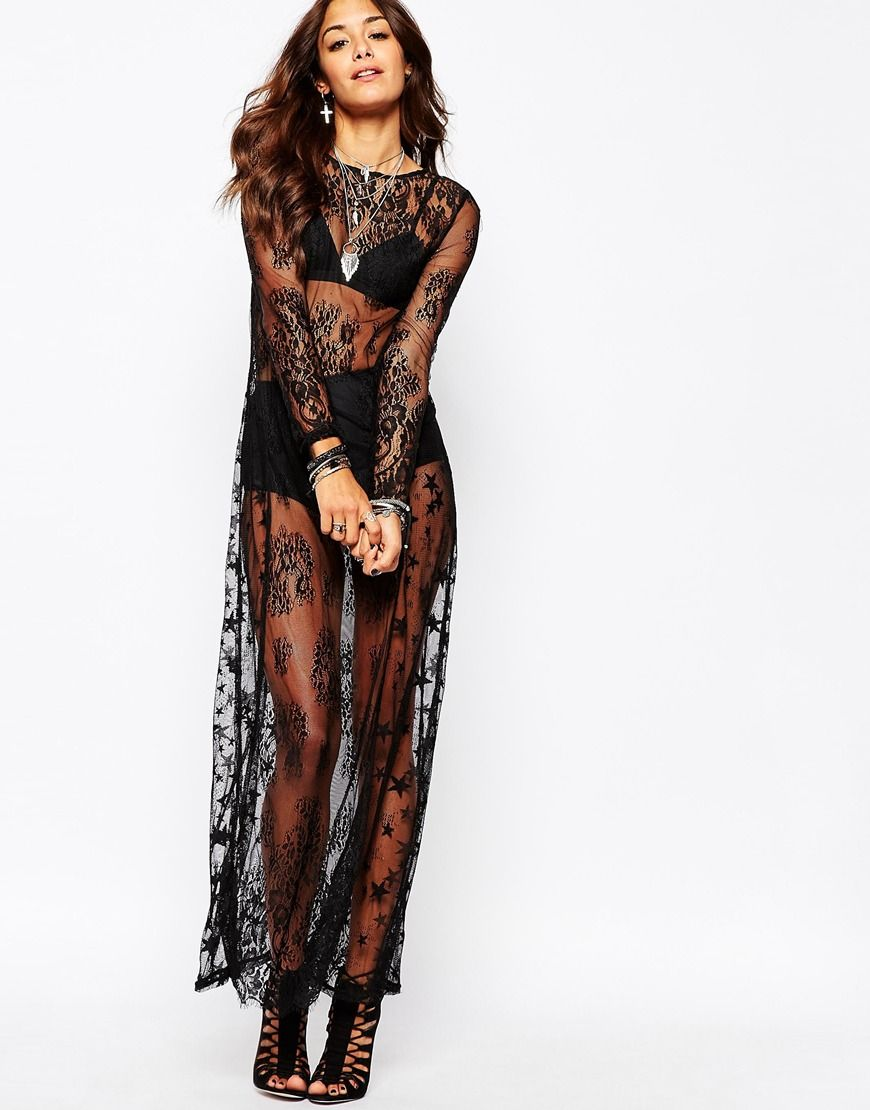 Religion Sheer Lace Christmas Maxi Dress With Stars | ♡Wish List ...