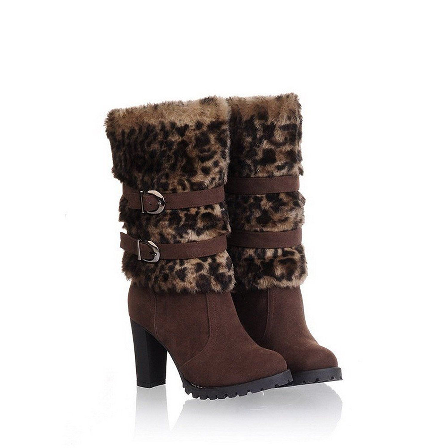 VogueZone009 Womens Closed Round Toe High Heel Chunky Heel Short Plush PU Frostes Assorted Colors Boots