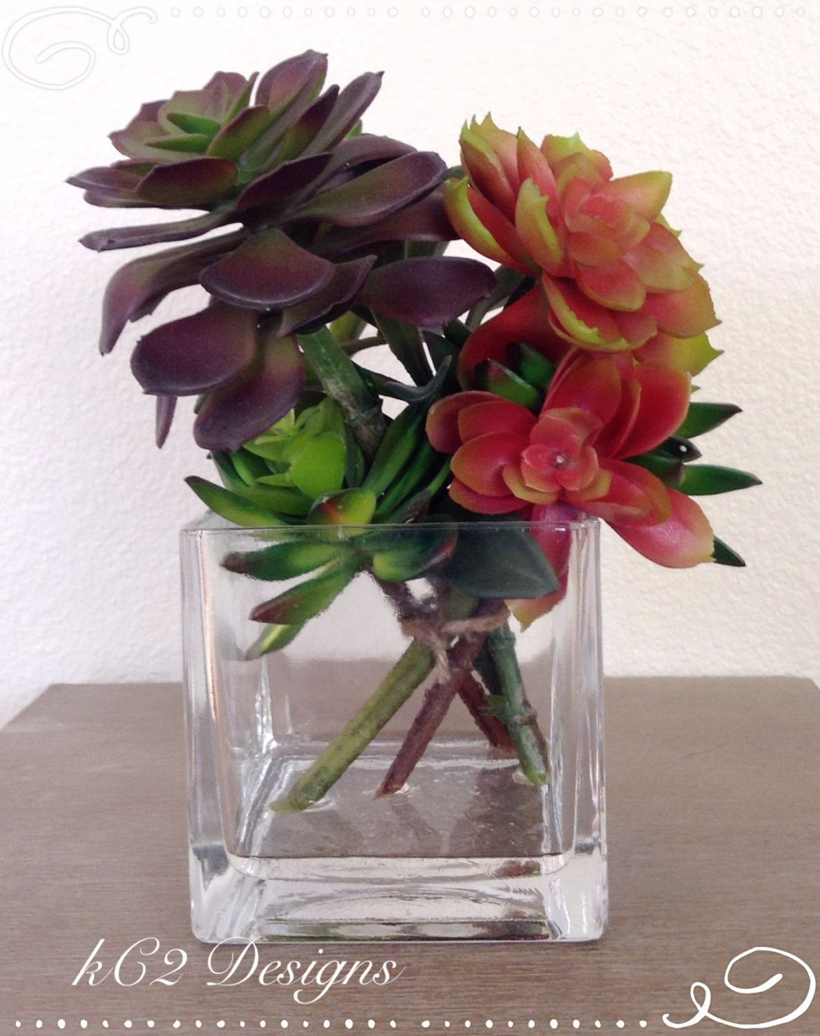 Succulent vase succulent artificial flowers silk flower succulent vase succulent artificial flowers silk flower arrangement wedding centerpiece home decor faux water glass vase reviewsmspy