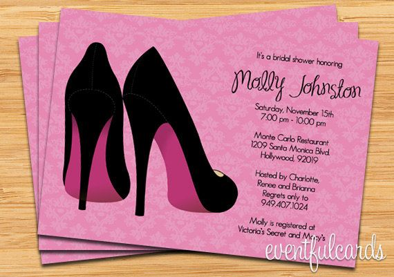 pink damask with black pumps bridal shower invitation fully customizable