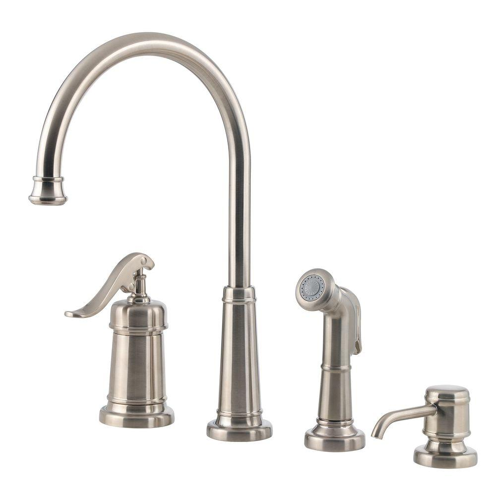 Brushed Nickel Kitchen Faucet With Sprayer Lowes Black Sink Pfister Ashfield Single Handle Standard Side And Soap Dispenser In