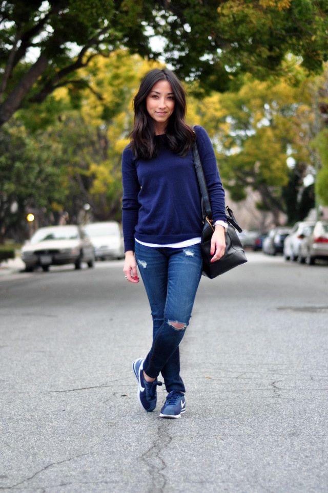 nike cortez with skinny jeans