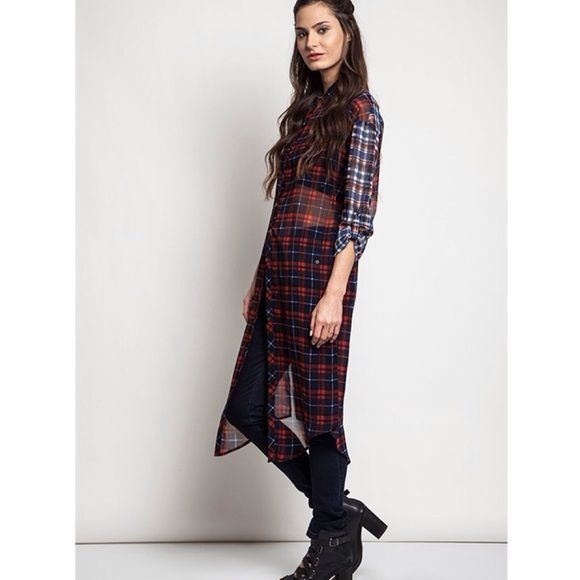 """""""Plaid Back Look"""" Long Plaid Top Long plaid duster top. Available in red or brown. This listing is for the RED. Brand new. Looser fit. NO TRADES. LOWEST PRICE. Bare Anthology Tops Button Down Shirts"""