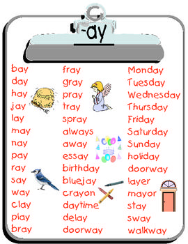 Ay Word List Teacherspayteachers Com Phonics Words Phonics Word List