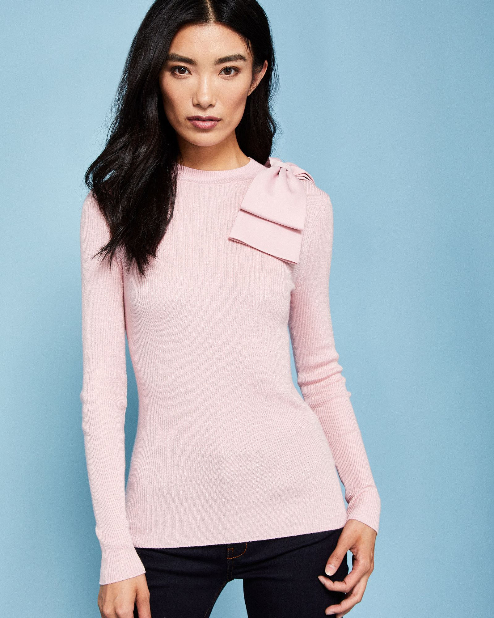 Bow detail ribbed sweater - Dusky Pink | Sweaters | Ted Baker ...