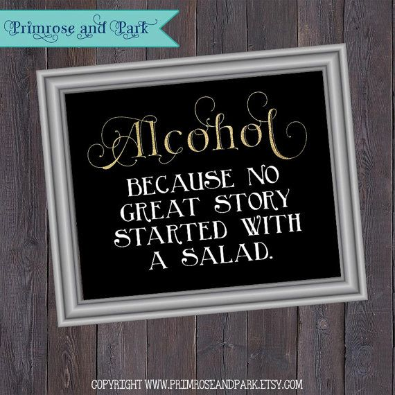 Alcohol Because No Great Story Bar Sign // Alcohol Bar Sign // Printable Instant Download