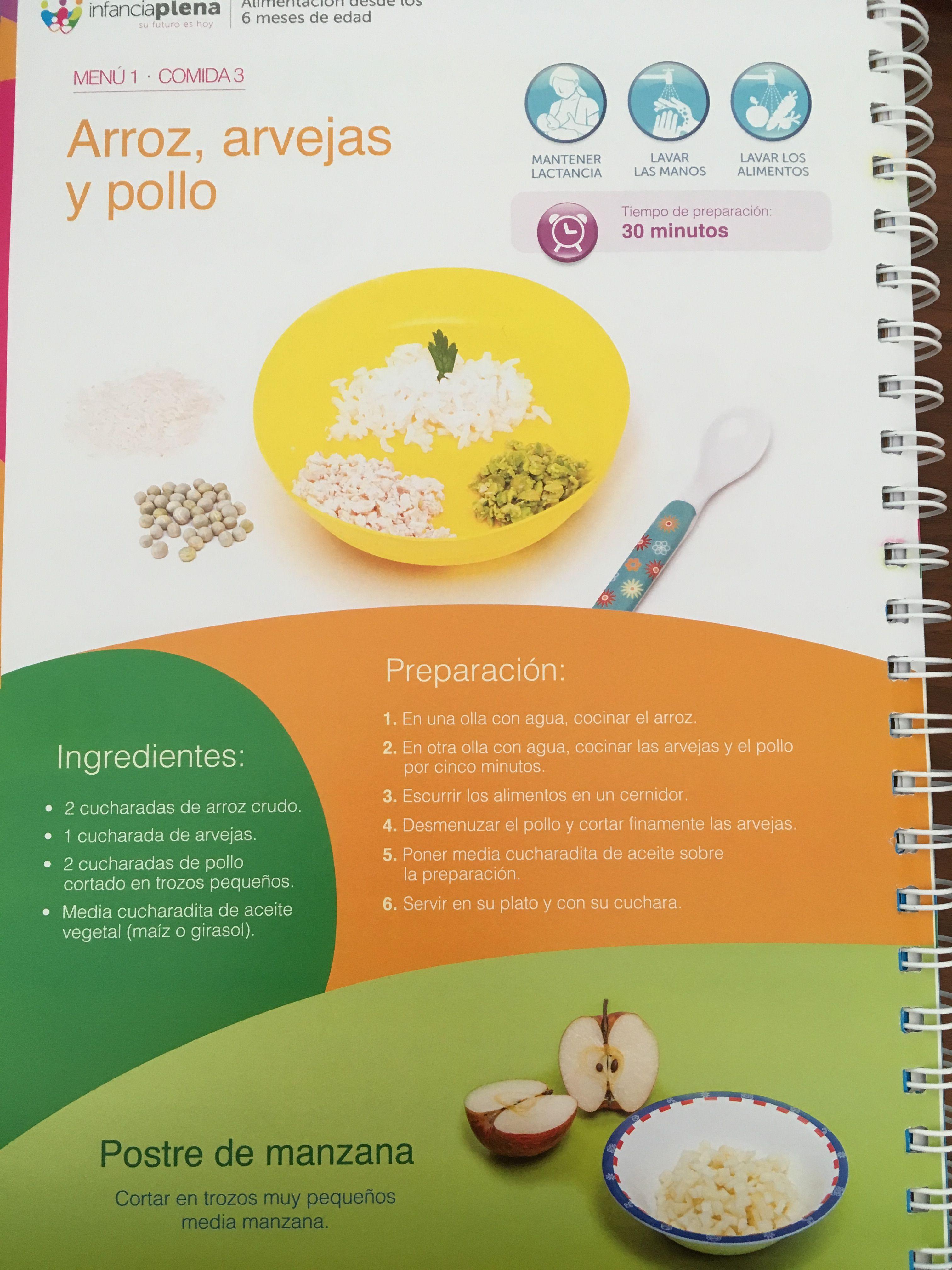 Menu De Arroz Arvejas Y Pollo De 9 A 11 Meses Food Fruit