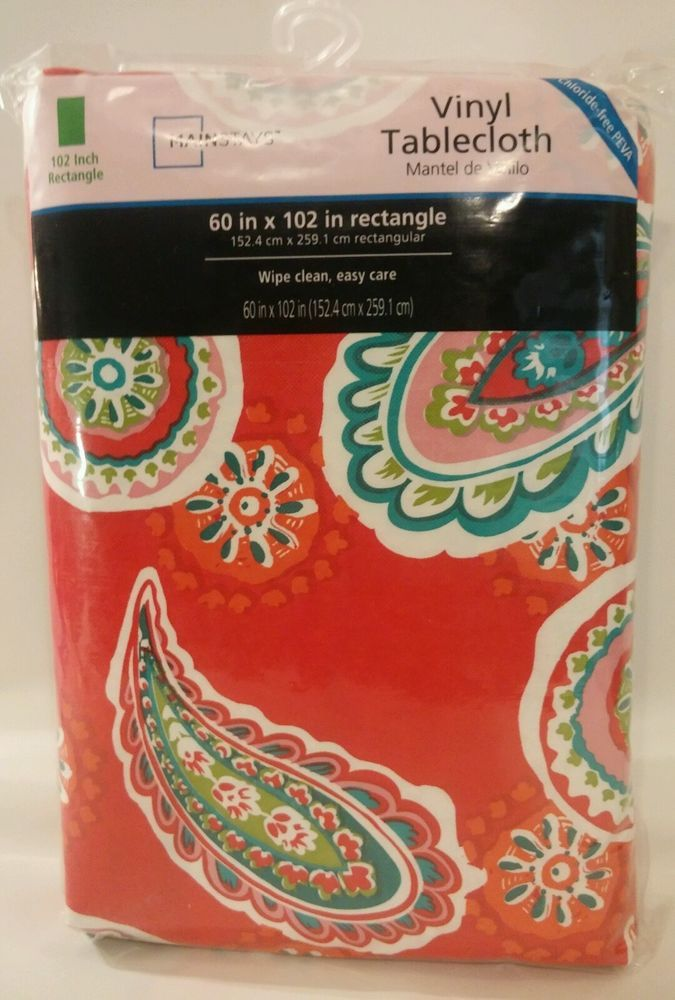 Tablecloth Red Paisley Vinyl 60 X 102 Inch Rectangle Mainstays New In Package Modern Floral Design Vinyl Vinyl Tablecloth