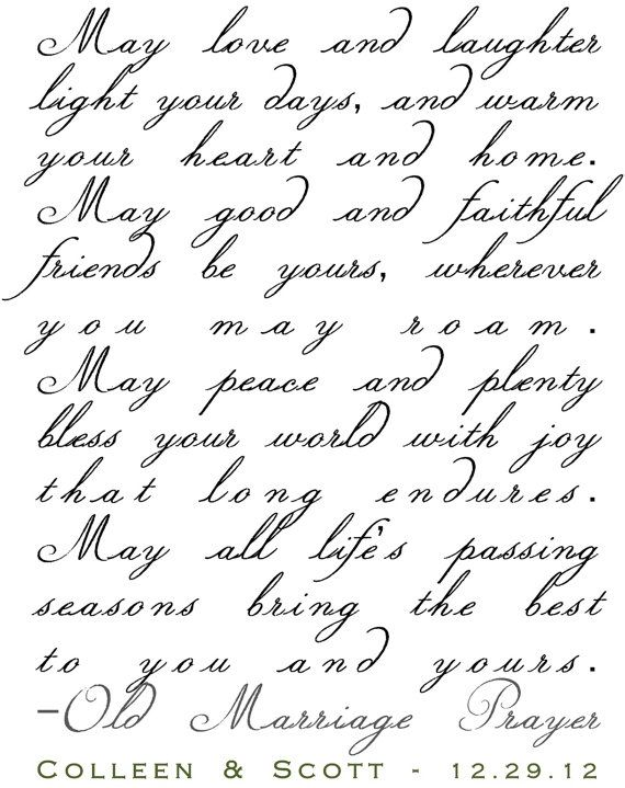 Old Marriage Prayer Personalized Great Wedding by