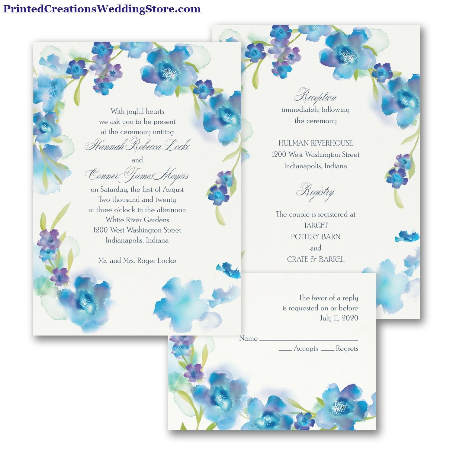 Watercolor Flowers Valstyle Invitation Blueberry White