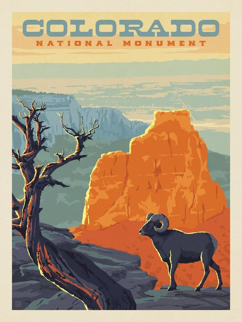 National Parks Preserve Wild Life Bighorn Sheep North America Native USA Travel Vintage Poster Repro FREE Shipping in USA Shipped Rolled-Up