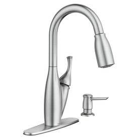 moen kendall spot resist brushed nickel 1handle pulldown kitchen faucet